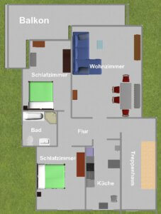Wohnungsgrundriss der FeWo Antje
